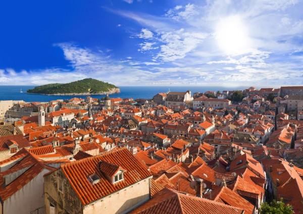 Хорватия - город Дубровник на закате