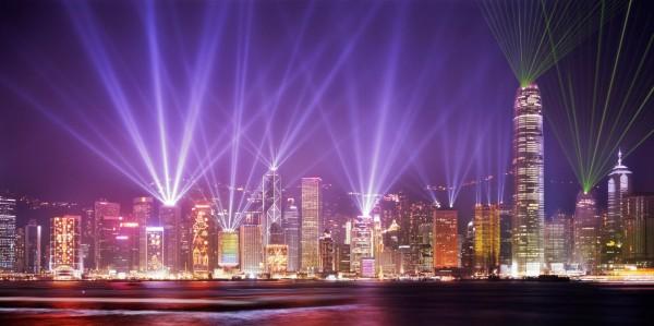 Вечерний Гонконг - лазерное шоу