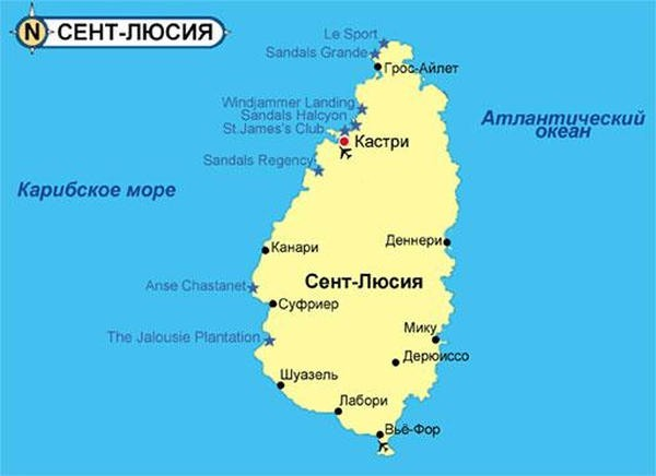 Карта Сент-Люсии